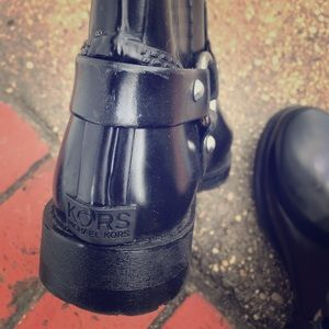 Michael Kors Black Rainboots with Silver Embellish